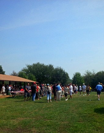 Guests enjoy a company picnic at High Point Farm